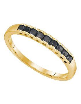 10kt Yellow Gold Womens Princess Black Color Enhanced Diamond Band Ring 1/4 Cttw