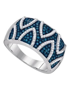 10kt White Gold Womens Round Blue Color Enhanced Diamond Stripe Band Ring 5/8 Cttw