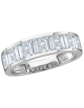 14kt White Gold Womens Baguette & Princess Diamond Wedding Anniversary Band 1.00 Cttw