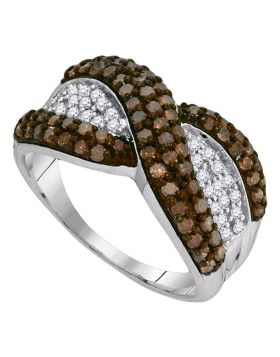 10kt White Gold Womens Round Cognac-brown Color Enhanced Diamond Crossover Stripe Band Ring 1.00 Cttw