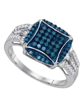10kt White Gold Womens Round Blue Color Enhanced Diamond Circle Cluster Ring 1/2 Cttw