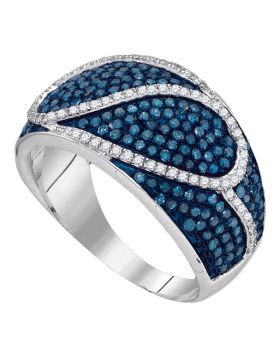10kt White Gold Womens Round Blue Color Enhanced Diamond Stripe Band Ring 1.00 Cttw
