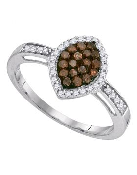 10kt White Gold Womens Round Cognac-brown Color Enhanced Diamond Oval Frame Cluster Ring 1/3 Cttw