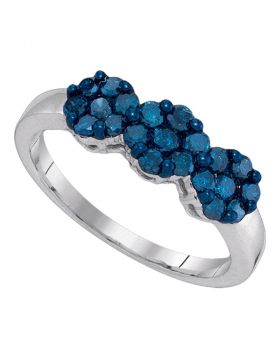 10kt White Gold Womens Round Blue Color Enhanced Diamond Cluster Ring 3/4 Cttw