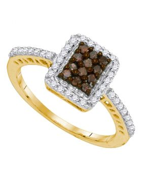 10kt Yellow Gold Womens Round Cognac-brown Color Enhanced Diamond Rectangle Frame Cluster Ring 1/2 Cttw
