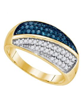 10kt Yellow Gold Womens Round Blue Color Enhanced Diamond Double Stripe Cluster Band 1/2 Cttw
