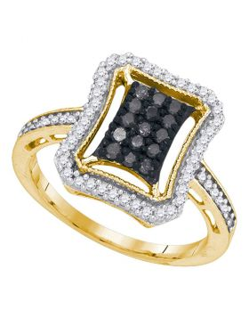 10kt Yellow Gold Womens Round Black Color Enhanced Diamond Rectangle Frame Cluster Ring 1/2 Cttw