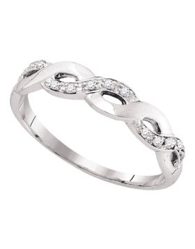 10kt White Gold Womens Round Diamond Woven Twist Band Ring 1/12 Cttw