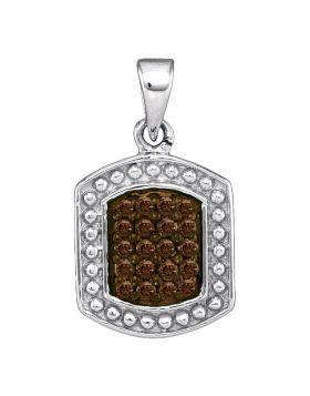 Sterling Silver Womens Round Brown Color Enhanced Diamond Dog Tag Fashion Pendant 1/5 Cttw