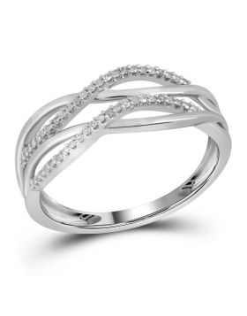 10kt White Gold Womens Round Diamond Entwined Strand Band Ring 1/8 Cttw