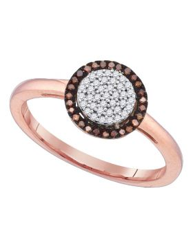 10kt Rose Gold Womens Round Red Color Enhanced Diamond Cluster Ring 1/6 Cttw