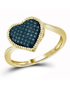 10kt Yellow Gold Womens Round Blue Color Enhanced Diamond Milgrain Heart Cluster Ring 1/6 Cttw