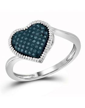 10kt White Gold Womens Round Blue Color Enhanced Diamond Milgrain Heart Cluster Ring 1/6 Cttw