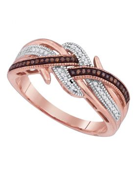 10kt Rose Gold Womens Round Red Color Enhanced Diamond Crossover Band Ring 1/6 Cttw