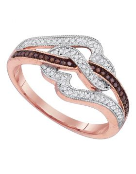 10kt Rose Gold Womens Round Red Color Enhanced Diamond Heart Ring 1/4 Cttw