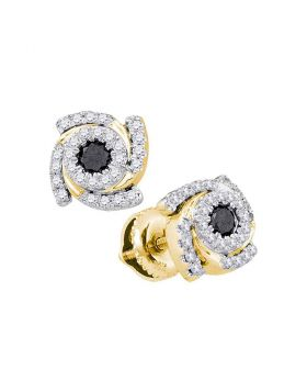 10kt Yellow Gold Womens Round Black Color Enhanced Diamond Fashion Earrings 1/2 Cttw