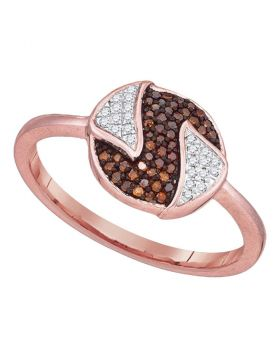 10kt Rose Gold Womens Round Red Color Enhanced Diamond Fashion Ring 1/6 Cttw