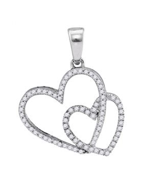 10kt White Gold Womens Round Diamond Double Heart Pendant 1/5 Cttw