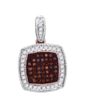 10kt Rose Gold Womens Round Red Color Enhanced Diamond Square Cluster Pendant 1/5 Cttw