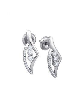 10kt White Gold Womens Round Diamond 3-Stone Vertical Stud Earrings 1/3 Cttw