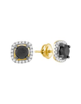 10kt Yellow Gold Womens Round Black Color Enhanced Diamond Solitaire Earrings 1-7/8 Cttw
