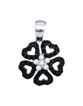 10kt White Gold Womens Round Black Color Enhanced Diamond Heart Circle Pendant 1/3 Cttw