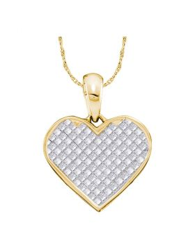 14kt Yellow Gold Womens Princess Diamond Heart Pendant 1/4 Cttw