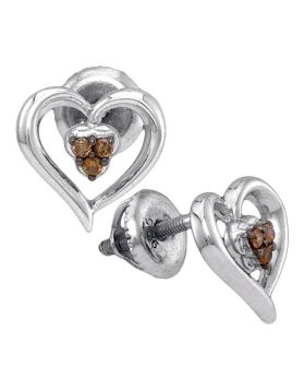 Sterling Silver Womens Round Cognac-brown Color Enhanced Diamond Heart Earrings 1/12 Cttw