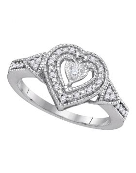 Sterling Silver Womens Round Diamond Heart Love Ring 1/8 Cttw