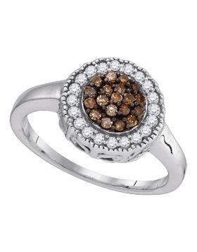 Sterling Silver Womens Round Cognac-brown Color Enhanced Diamond Cluster Ring 1/3 Cttw