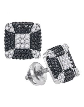 Sterling Silver Womens Round Black Color Enhanced Diamond Square Corner Earrings 1/2 Cttw