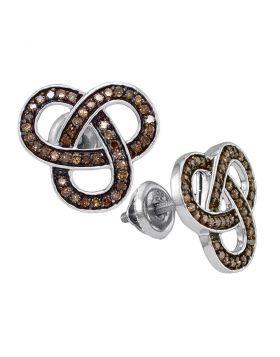 Sterling Silver Womens Round Brown Color Enhanced Diamond Trinity Loop Stud Earrings 1/2 Cttw