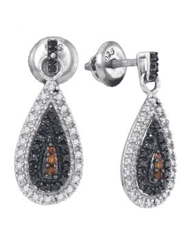 Sterling Silver Womens Round Black Color Enhanced Diamond Teardrop Dangle Earrings 1/3 Cttw