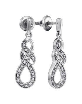 Sterling Silver Womens Round Diamond Infinity Dangle Screwback Earrings 1/8 Cttw