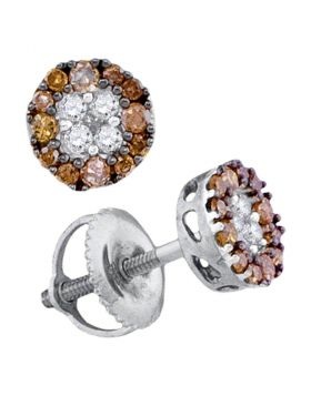 10kt White Gold Womens Round Cognac-brown Color Enhanced Diamond Cluster Stud Earrings 1/3 Cttw
