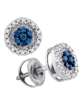 10kt White Gold Womens Round Blue Color Enhanced Diamond Circle Frame Cluster Earrings 1/4 Cttw