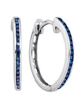 10k White Gold Blue Color Enhanced Round Diamond Womens Slender Unique Hoop Earrings 1/10 Cttw