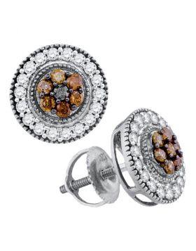 10kt White Gold Womens Round Cognac-brown Color Enhanced Diamond Cluster Stud Screwback Earrings 5/8 Cttw