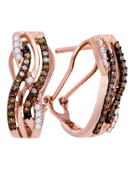10kt Rose Gold Womens Round Cognac-brown Color Enhanced Diamond Striped Hoop Earrings 1/2 Cttw