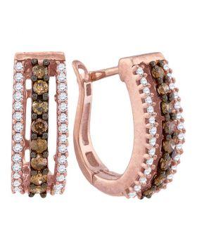 10k Rose Gold Cognac-brown Color Enhanced White Diamond Womens Pave Hoop Earrings 1/2 Cttw