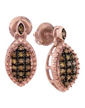 10kt Rose Gold Womens Round Cognac-brown Color Enhanced Diamond Dangle Earrings 1/3 Cttw