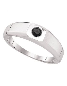 10k White Gold Mens Black Color Enhanced Round Diamond Solitaire Wedding Anniversary Band Ring 1/3 Cttw