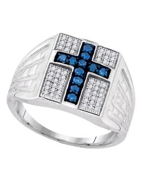 STERLING SILVER ROUND BLUE COLOR ENHANCED DIAMOND CROSS RELIGIOUS RING 1/2 CTTW