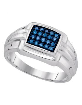 STERLING SILVER ROUND BLUE COLOR ENHANCED DIAMOND CLUSTER RING 1/4 CTTW