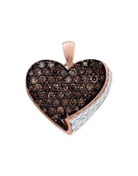 10kt Rose Gold Womens Round Cognac-brown Color Enhanced Diamond Heart Pendant 7/8 Cttw