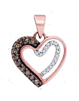 10kt Rose Gold Womens Round Cognac-brown Color Enhanced Diamond Heart Pendant 1/5 Cttw