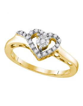 Yellow-tone Sterling Silver Womens Round Diamond Heart Love Ring 1/10 Cttw