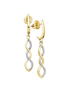 10kt Yellow Gold Womens Round Diamond Infinity Dangle Earrings 1/8 Cttw