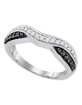 10k White Gold Black Color Enhanced Round Pave-set Diamond Womens Band Ring 1/3 Cttw