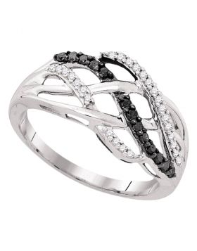 10kt White Gold Womens Round Black Color Enhanced Diamond Crossover Strand Band 1/4 Cttw